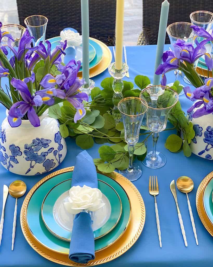 Blue, green and gold tea party place setting