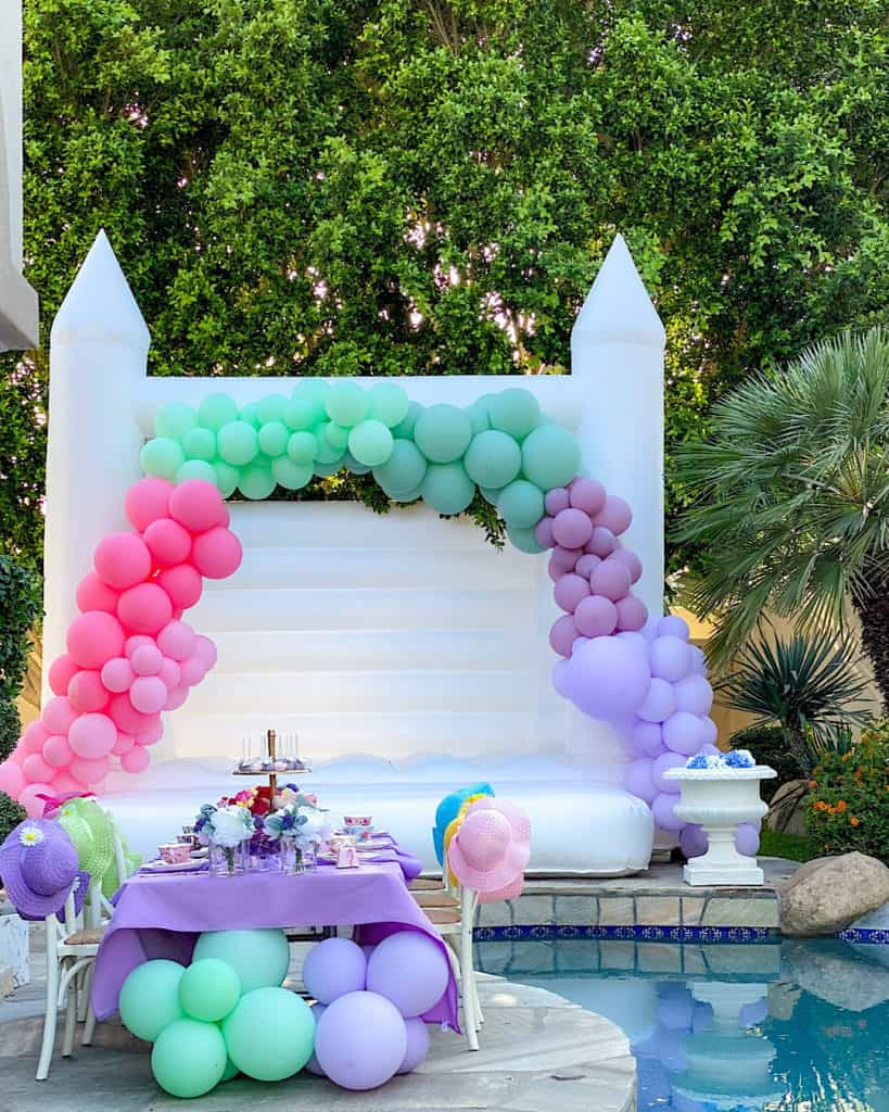 Birthday Garden Tea Party with pink purple and green balloons