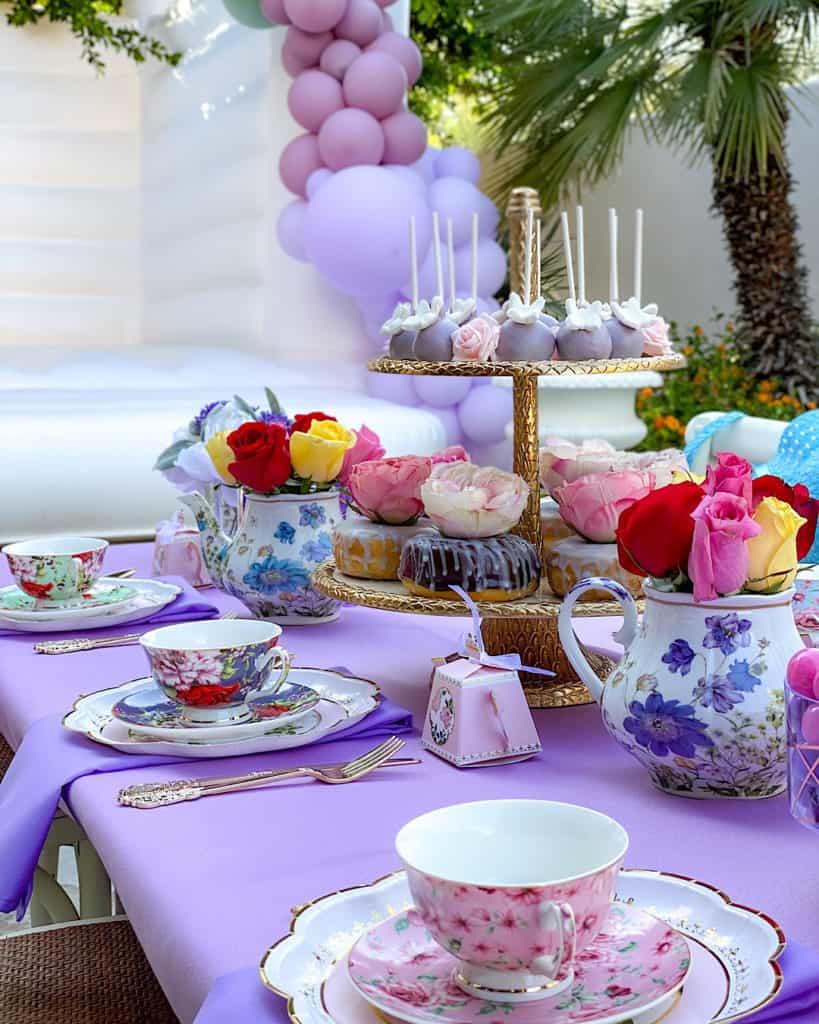 Dessert table at a garden tea party