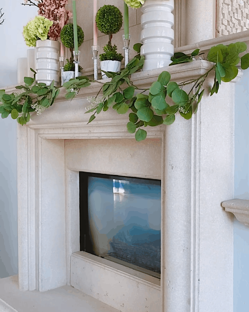 Spring themed decorated mantle