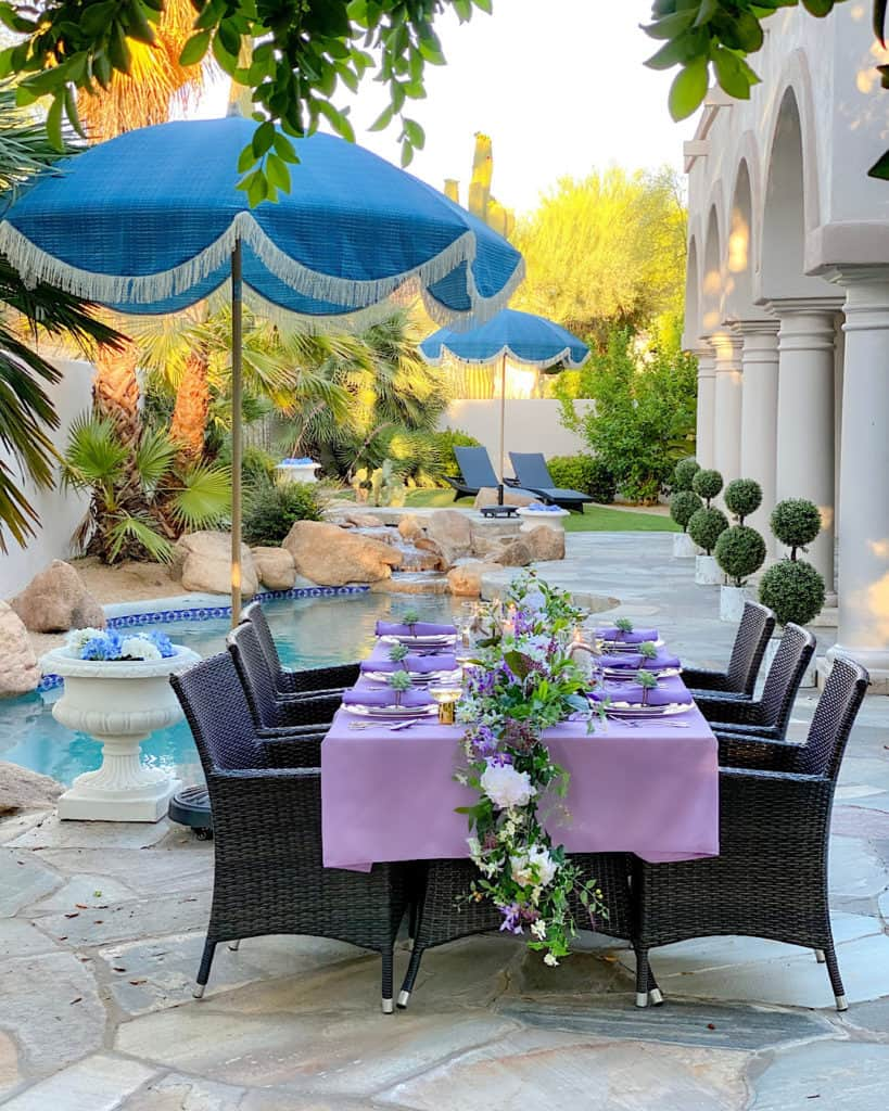 Purple and green decorated spring/summer brunch tablescape.