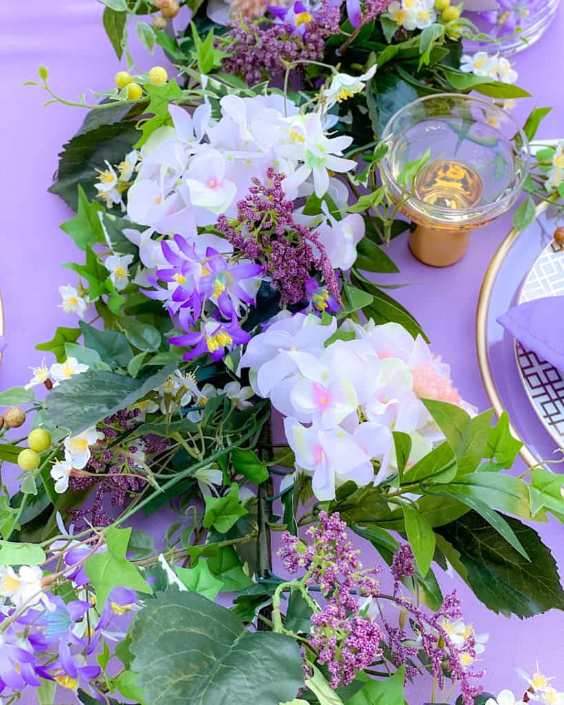 Purple white and green floral bouquet.