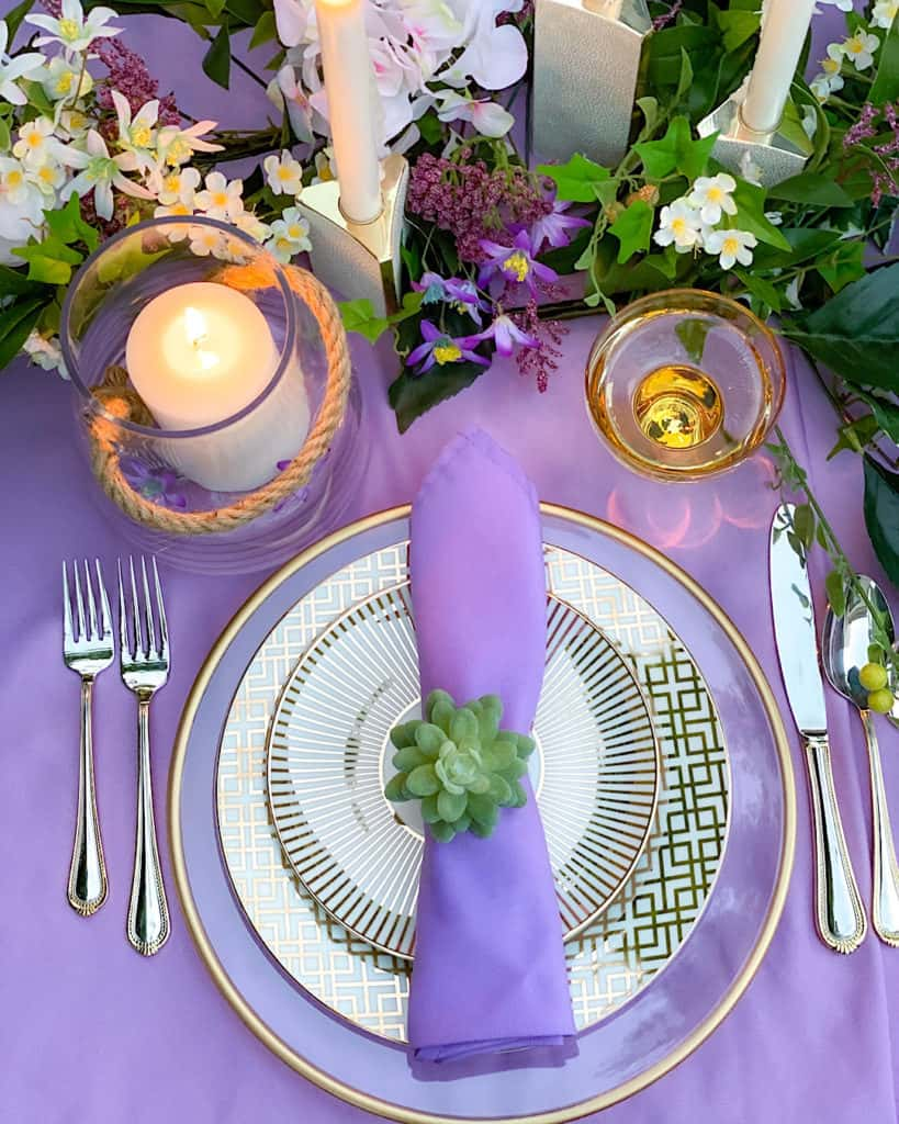 Place setting for a spring brunch tablescape.