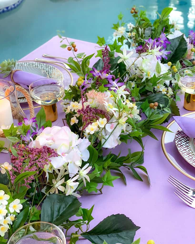 Floral decorations on a spring brunch tablescape.