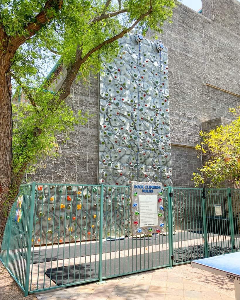 Rock climbing area for kids at Hyatt Regency Scottsdale Arizona