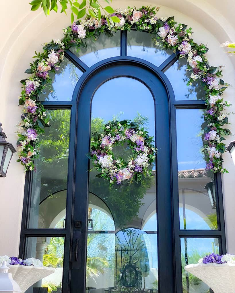 white, pink and purple outdoor wreaths and garlands
