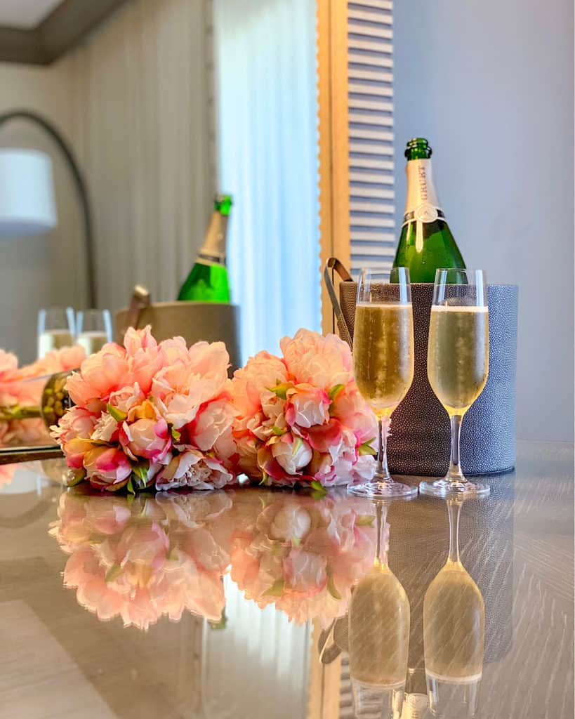 Champagne in our room at the Phoenician, with flower display