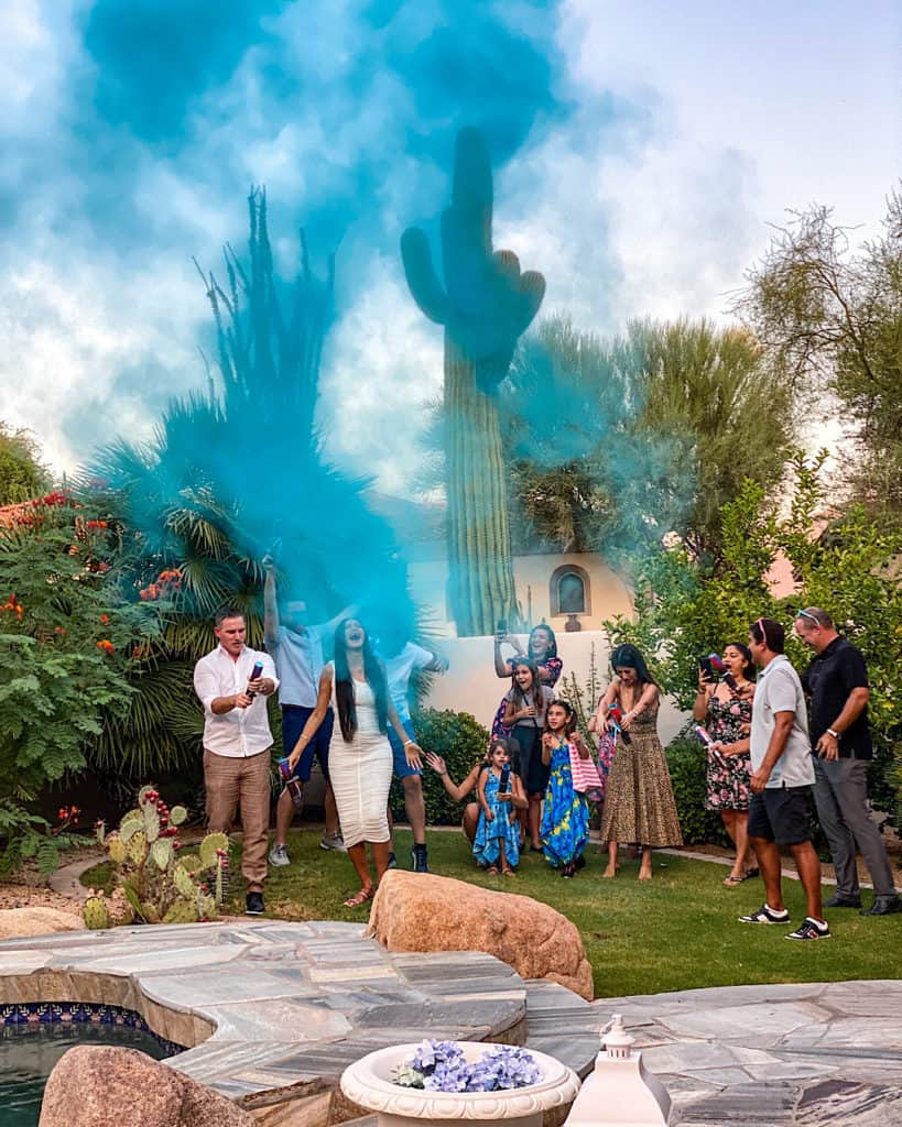 Entertaining guests at a gender reveal party