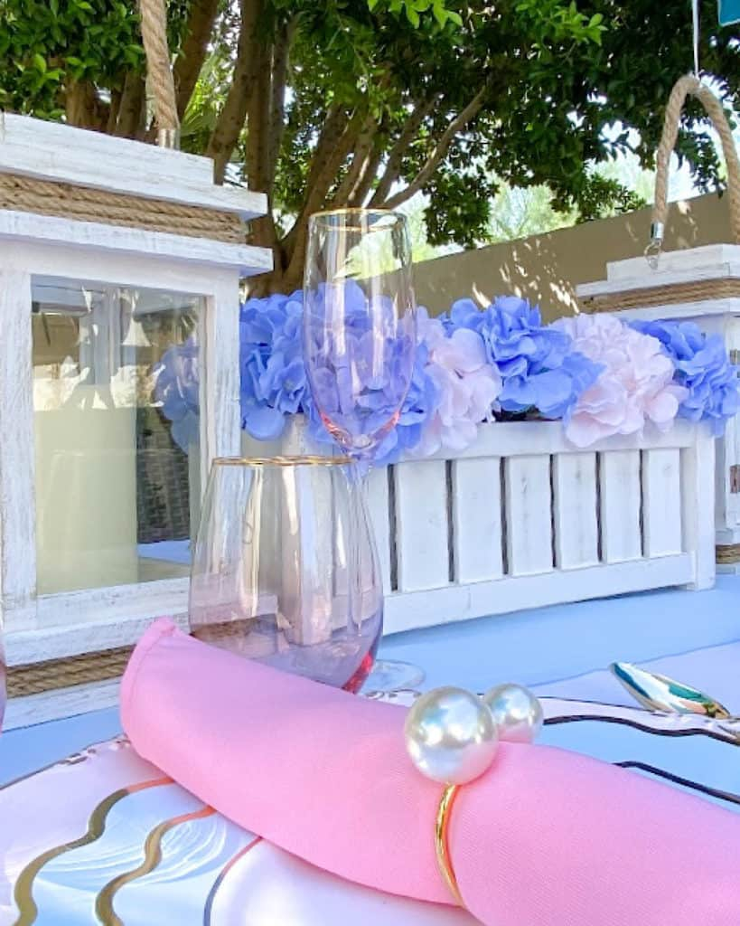 Gender reveal party tablescape