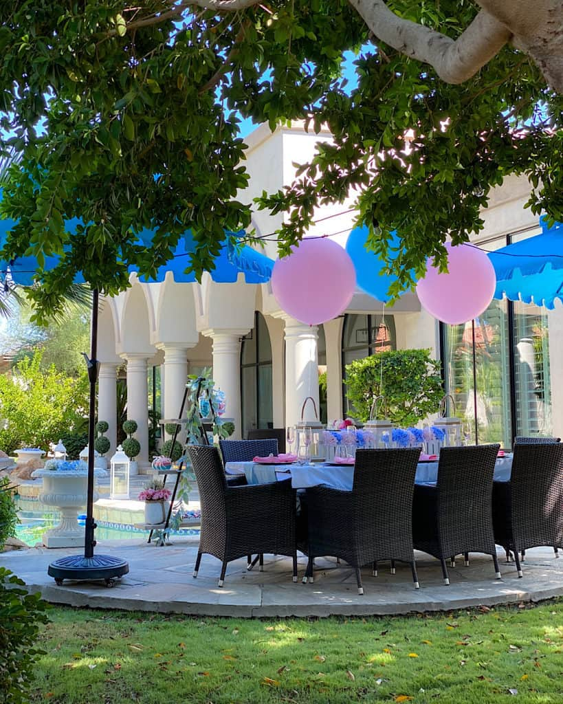 Pink and blue balloons at a garden party