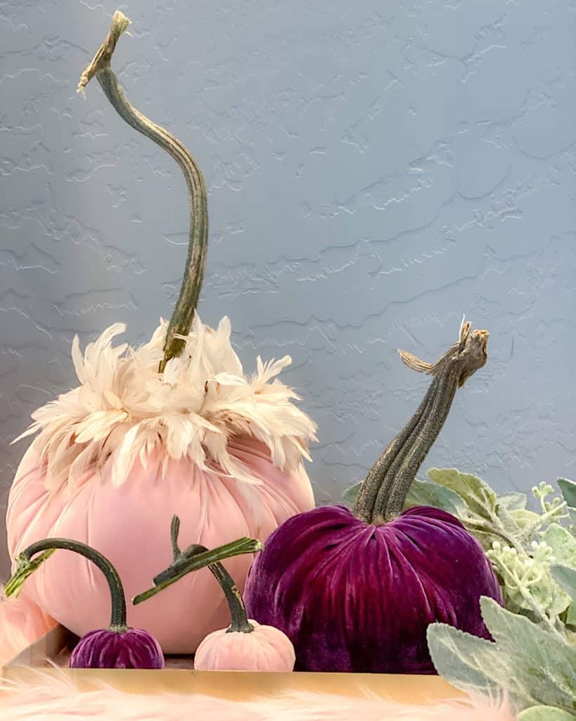 Pink and purple velvet DIY pumpkin centrepiece