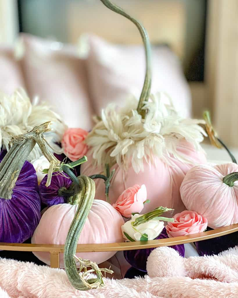 An Elegant DIY Pumpkin Centerpiece with pink and white roses
