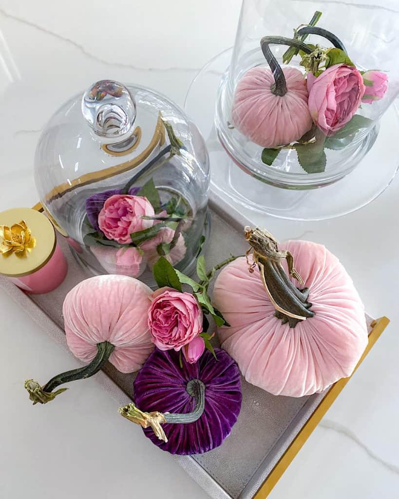 Elegant DIY floral and pumpkin centrepiece