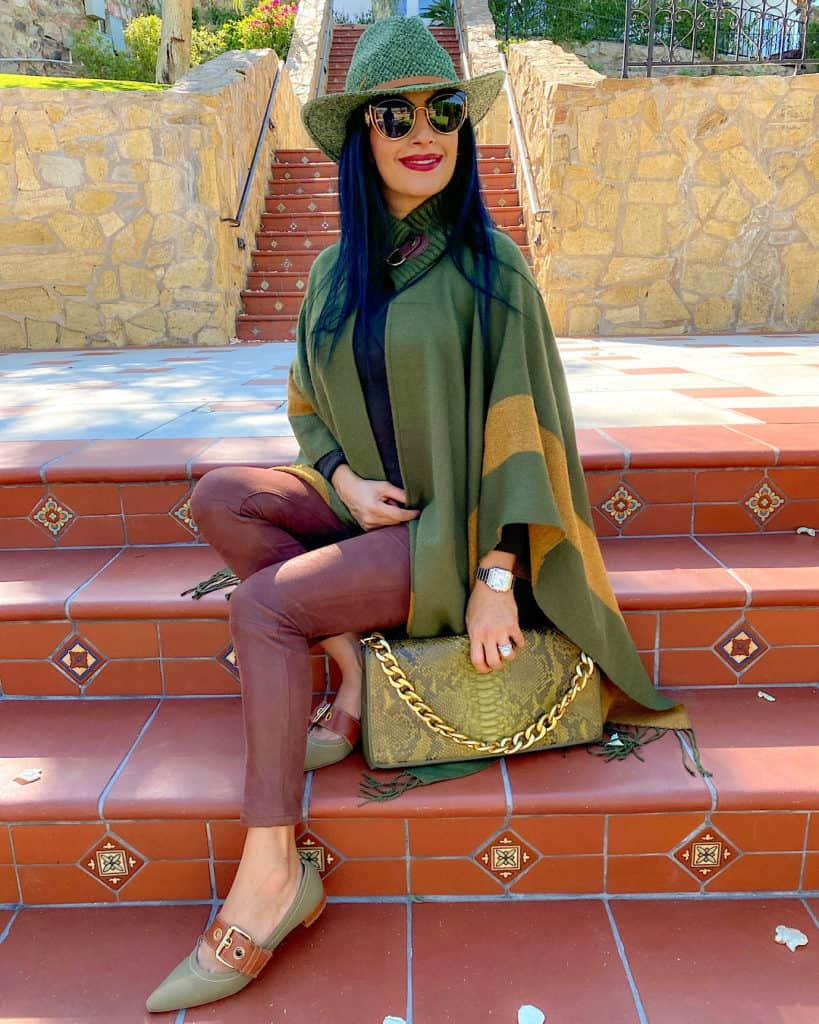 Green hat and green and mustard poncho - capes and ponchos fall 2021